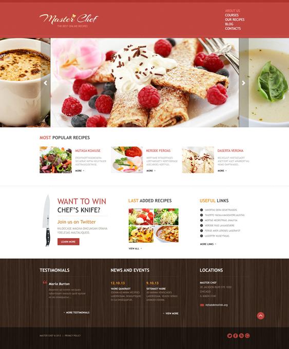 Cooking Responsive Recipes blogs websites Joomla Template