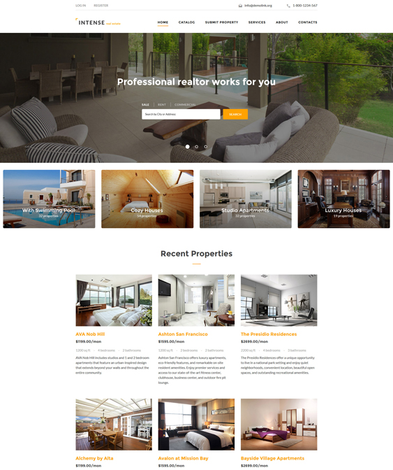 INTENSE real estate bootstrap website templates