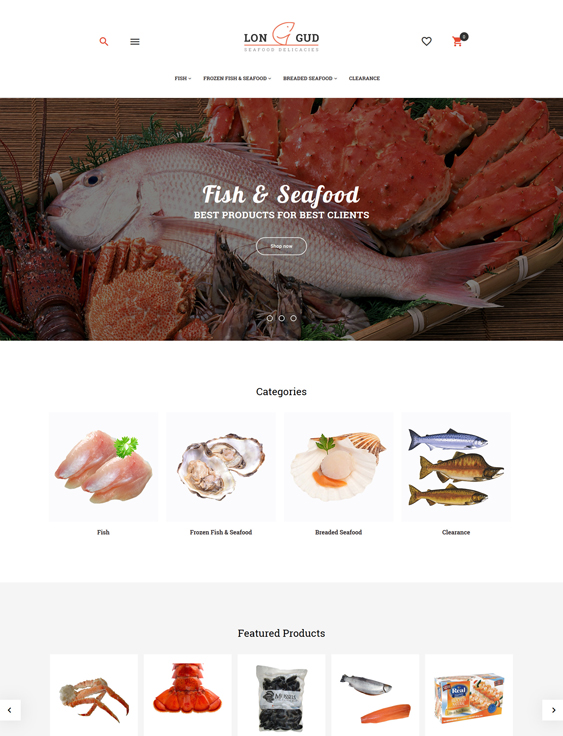 Longud - Seafood Delicacies food store magento themes