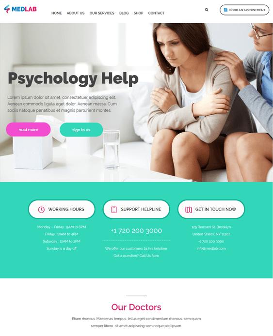 medlab counselors psychologists therapists wordpress themes
