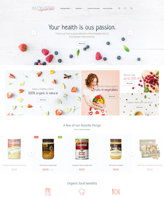 Monifee food store magento themes