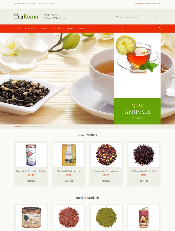 Quality Tea shop Magento Theme