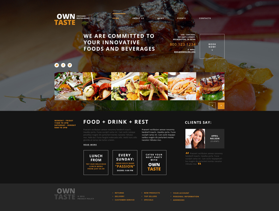 Cafe and Restaurant Responsive steakhouse WordPress Theme