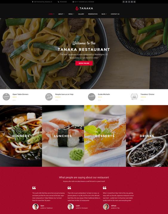 Tanaka - Japanese asian Restaurant WordPress Theme