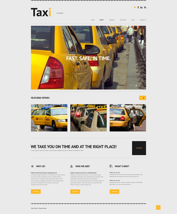 Taxi cab Services WordPress Theme responsive