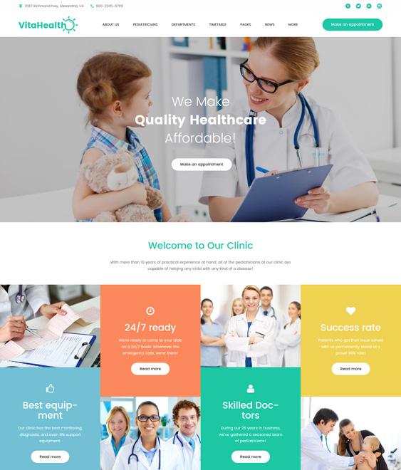 VitaHealth - pediatricians pediatric clinics wordpress themes Responsive Medical
