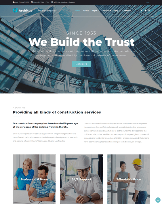 architus construction wordpress themes