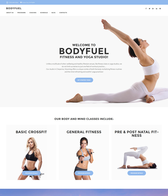 BodyFuel - Fitness & Yoga studio WordPress Theme