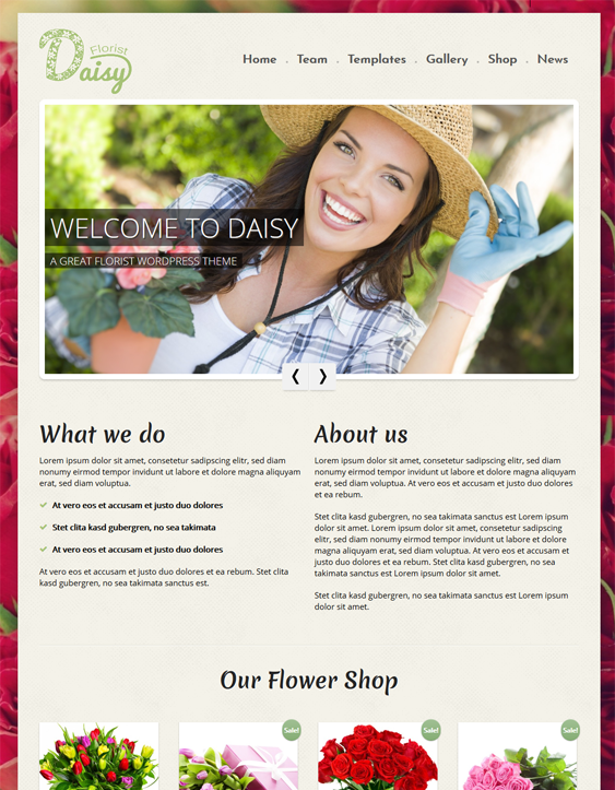 daisy florist wordpress themes flower shops