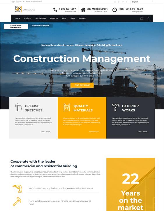 exilor wordpress themes construction company building contractor