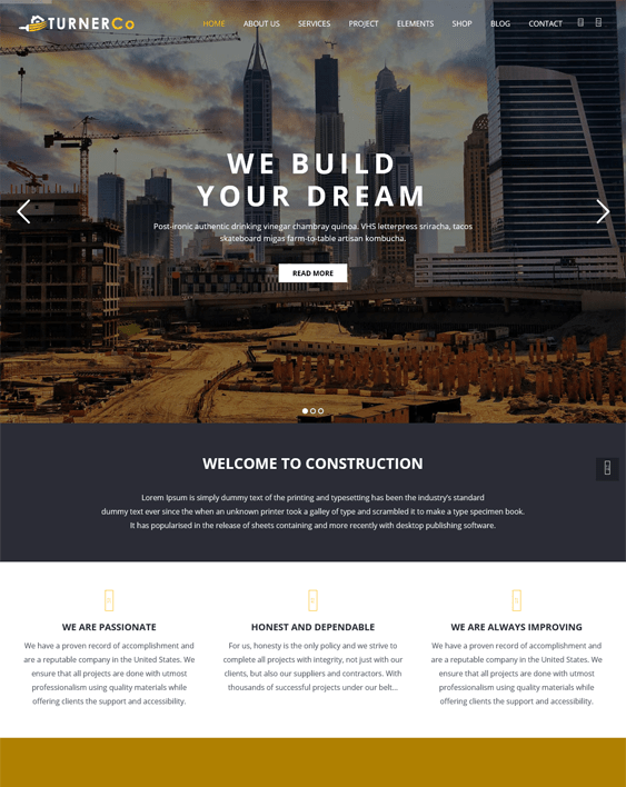 turner wordpress themes construction company building contractor