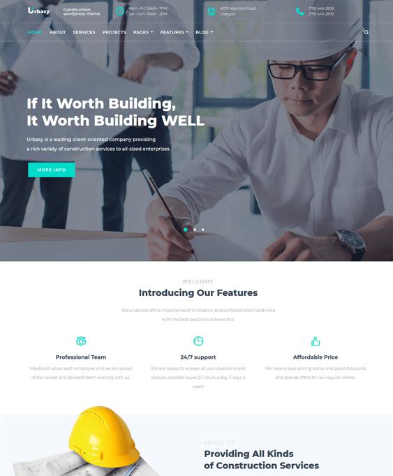 urbasy wordpress themes construction company building contractor