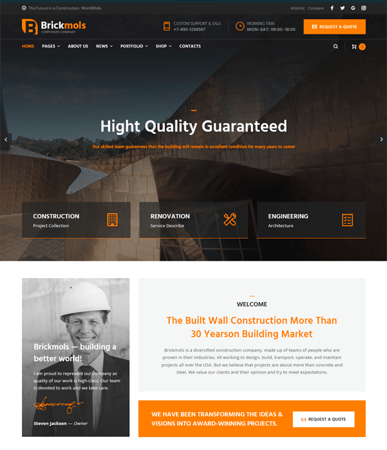wordpress themes construction companies