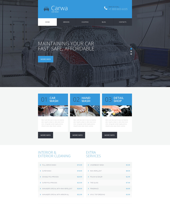 car wash bootstrap website templates