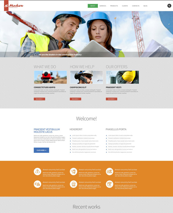 drupal theme construction companies building contractors