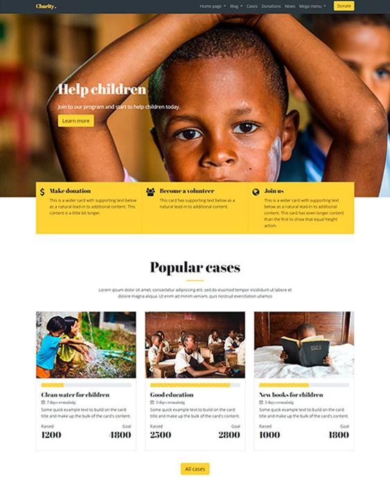 Get the recognition you deserve and facilitate your fundraising or donation process. 9 Of The Best Charity Nonprofit Bootstrap Website Templates Br Down