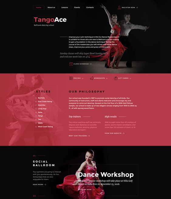 bootstrap website templates dance schools dance teachers