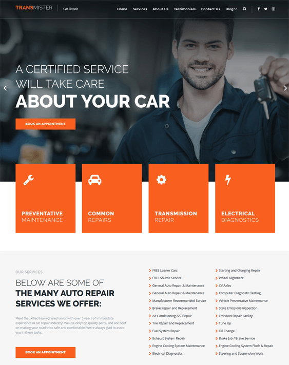 car vehicle automotive wordpress themes