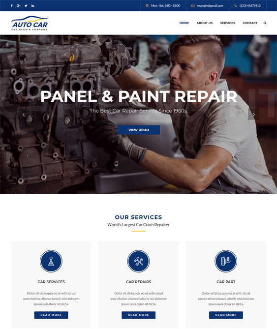 wordpress themes auto mechanics car repair body shops