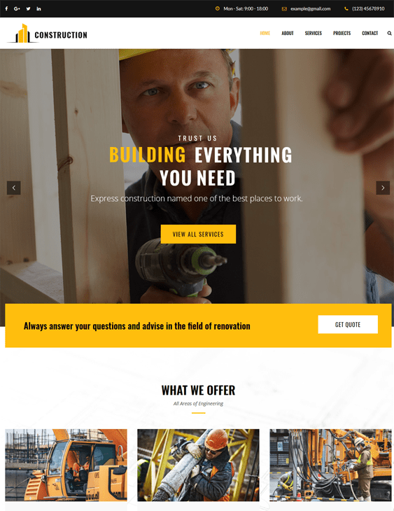 wordpress themes building contractors construction companies