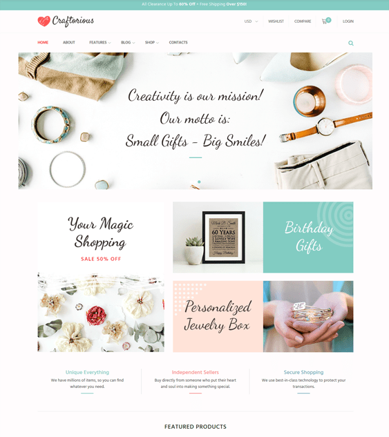 arts crafts wordpress themes for selling handmade products