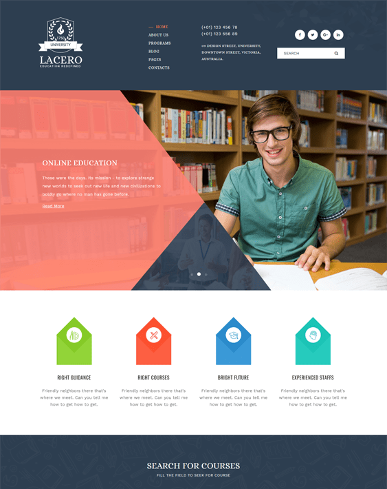 education wordpress themes schools online training