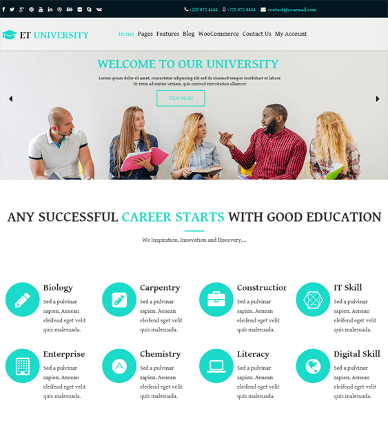 education wordpress themes schools online training