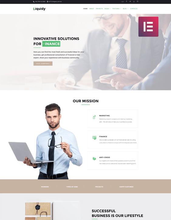 finance wordpress themes financial websites