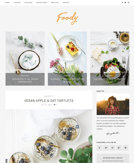 food recipe wordpress themes