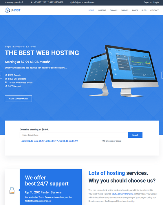 web hosting wordpress themes