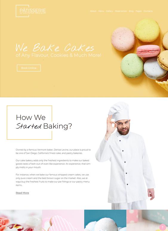 bakery cake shop wordpress themes