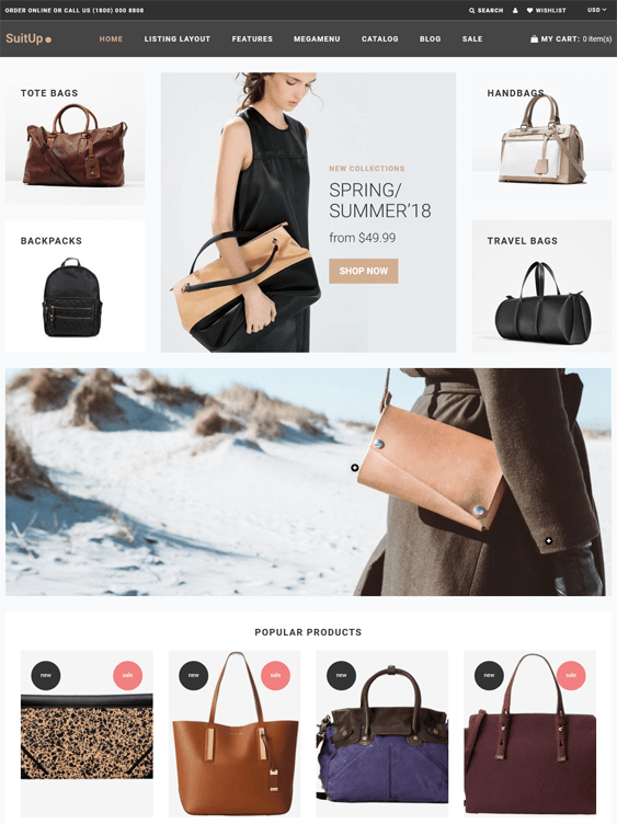 shopify themes purses handbags tote bags backpacks