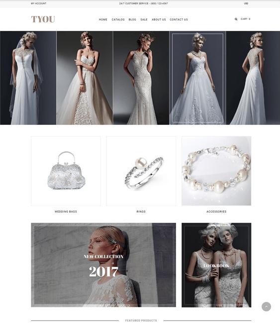 shopify themes bridal wedding stores