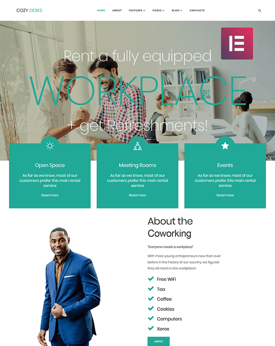 coworking wordpress themes for shared office spaces