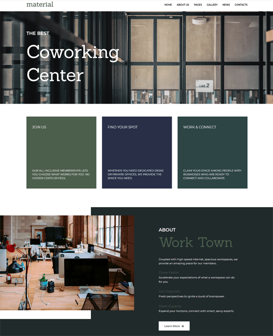 coworking joomla templates for shared office spaces