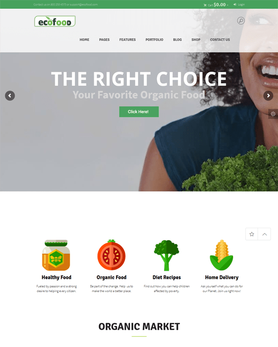 green organic eco-friendly wordpress themes