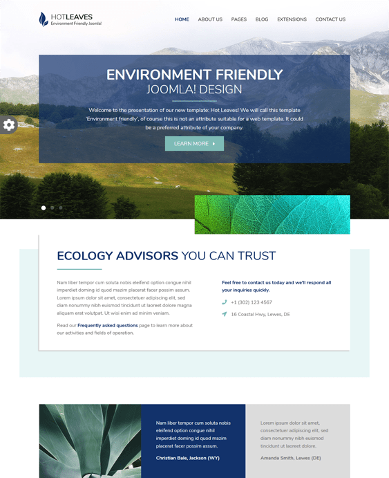 green organic eco-friendly joomla templates