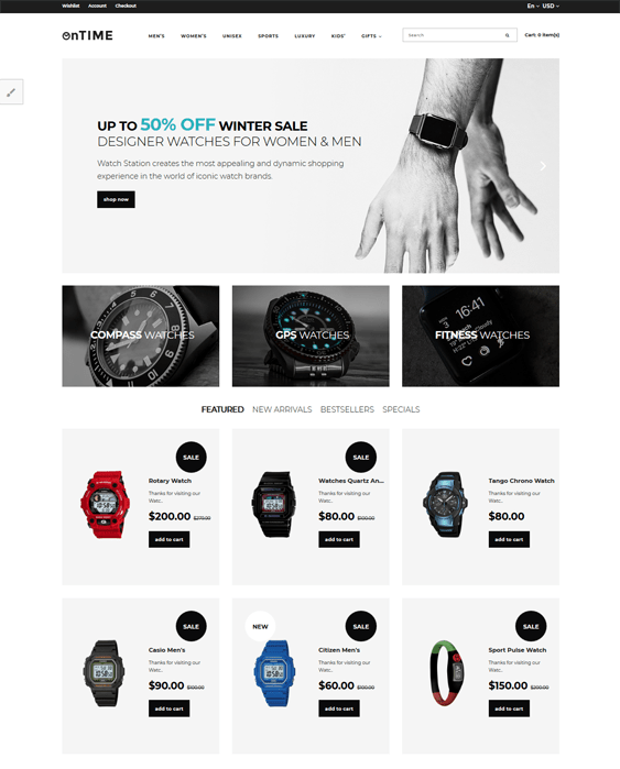 opencart themes for jewelry watch stores