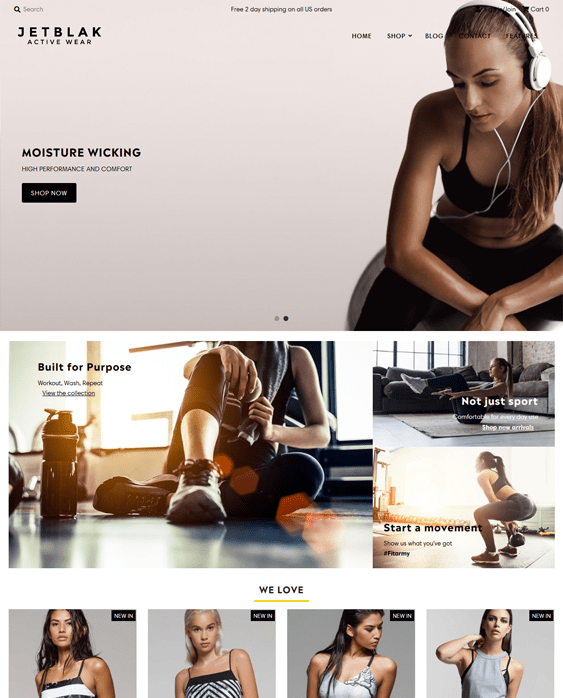 shopify themes for selling workout exercise clothes