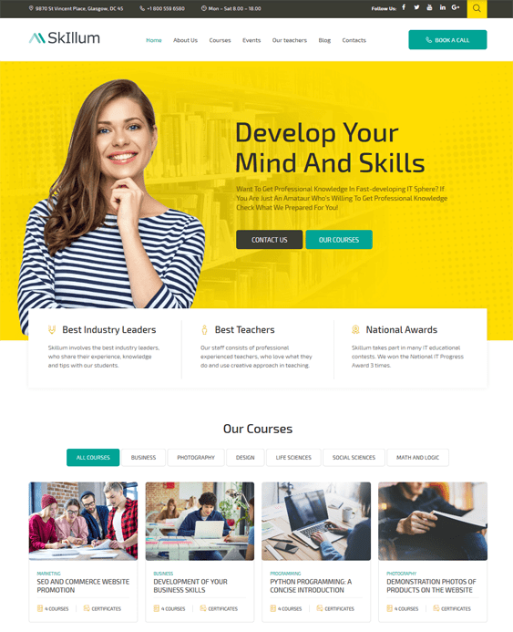 education wordpress themes schools
