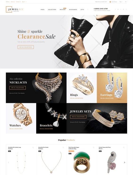 prestashop themes for selling jewelry watches