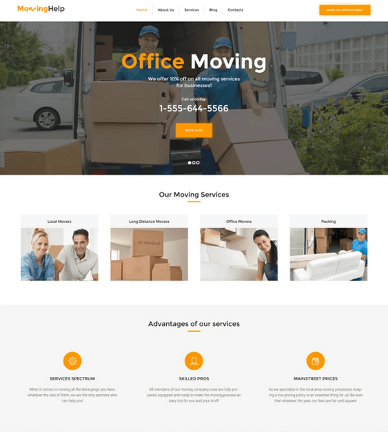 wordpress themes for movers and moving companies