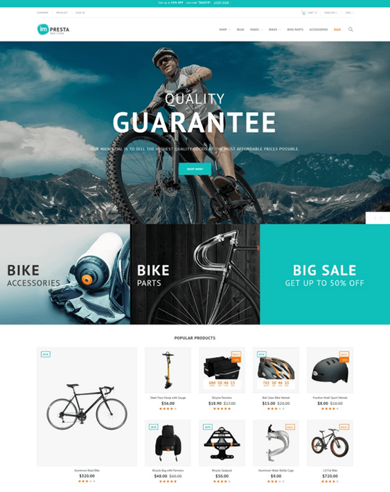 prestashop themes for bike cycling stores