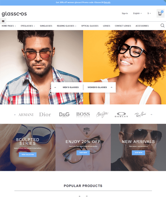 prestashop themes for selling eyewear sunglasses