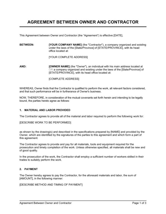 Agreement Between Owner and Contractor Template  by Business-in-a