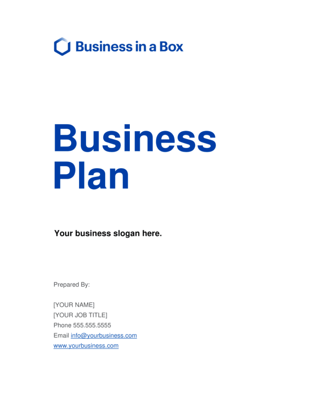 Business Plan Template  by Business-in-a-Box™