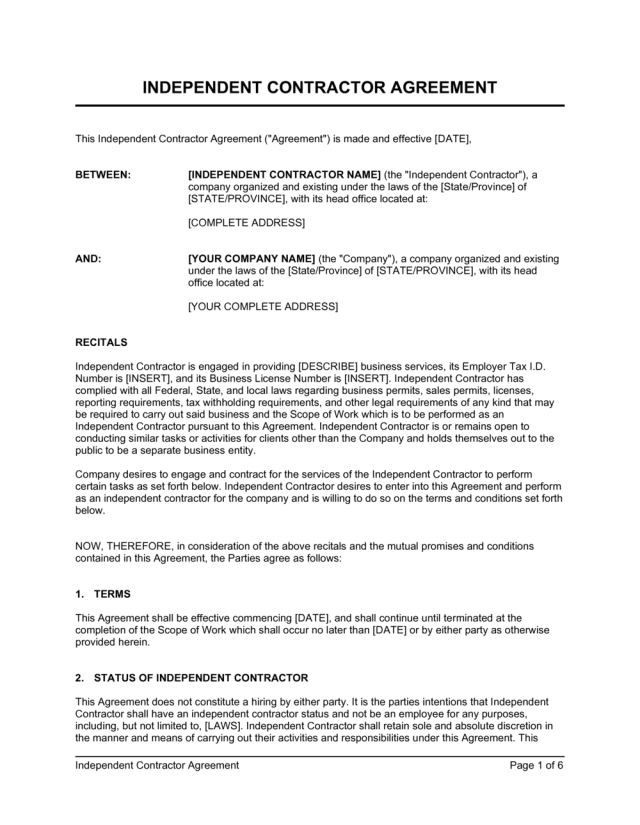 Independent Contractor Agreement Template  by Business-in-a-Box™