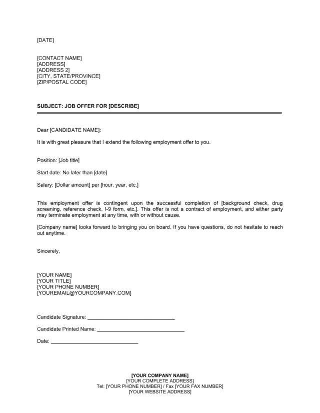 Job Offer Letter Simple Template  by Business-in-a-Box™