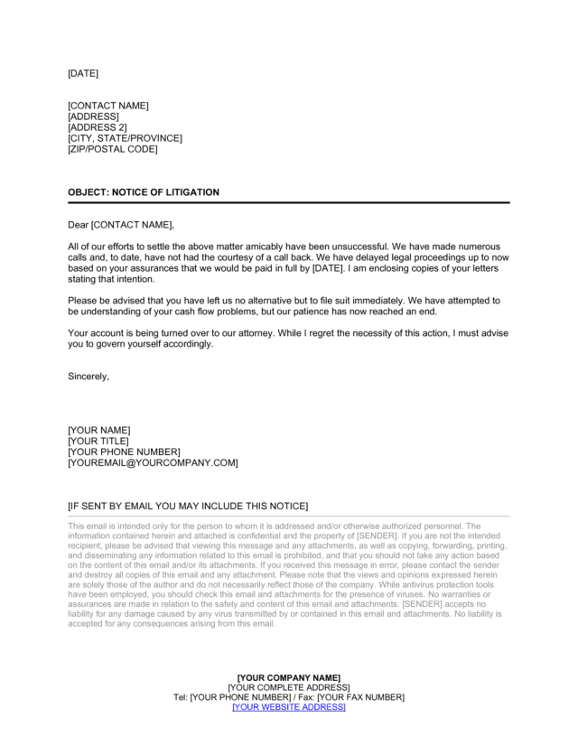 Letter Notice of Litigation Template  by Business-in-a-Box™