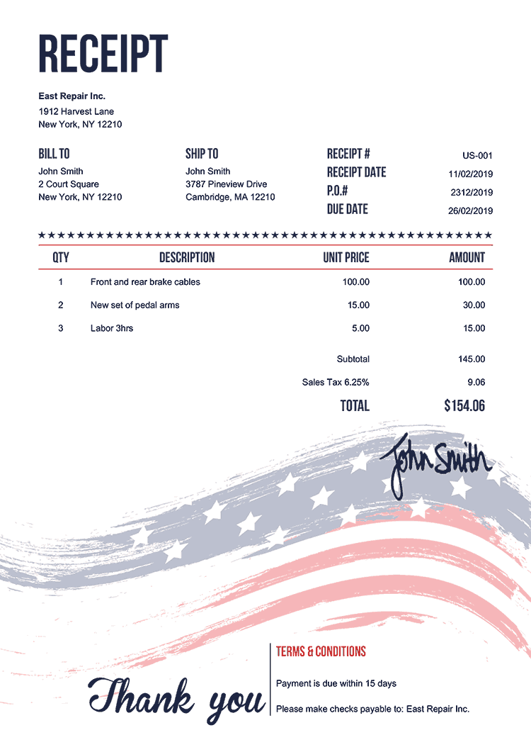 professional receipt template